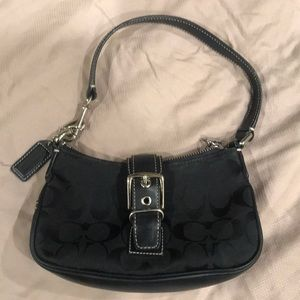 Small black fabric coach bag